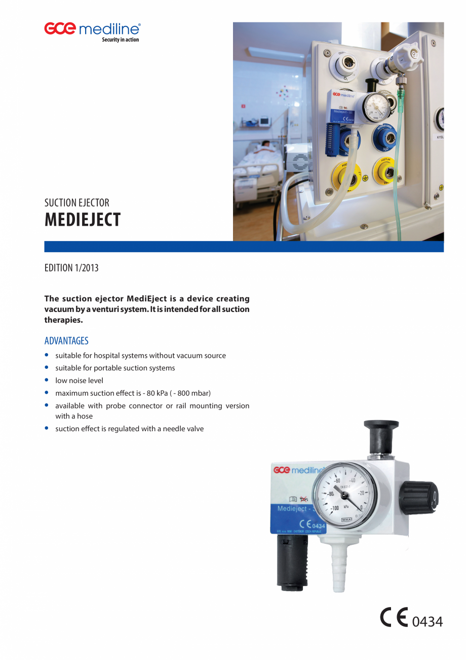 Pagina 1 - Injector de vacuum TEHNIC GAZ GAS EQUIPMENT MediEject Fisa tehnica Engleza suction...