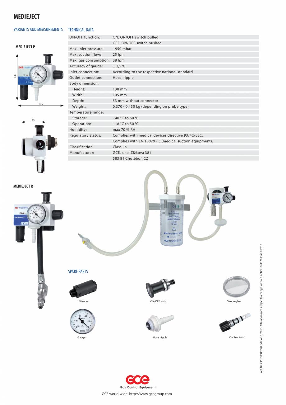 Pagina 2 - Injector de vacuum TEHNIC GAZ GAS EQUIPMENT MediEject Fisa tehnica Engleza - 40 °C to 60...