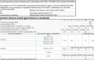 Caracteristici tehnice ale buteliilor pentru gaze tehnice si medicale TEHNIC GAZ GAS EQUIPMENT
