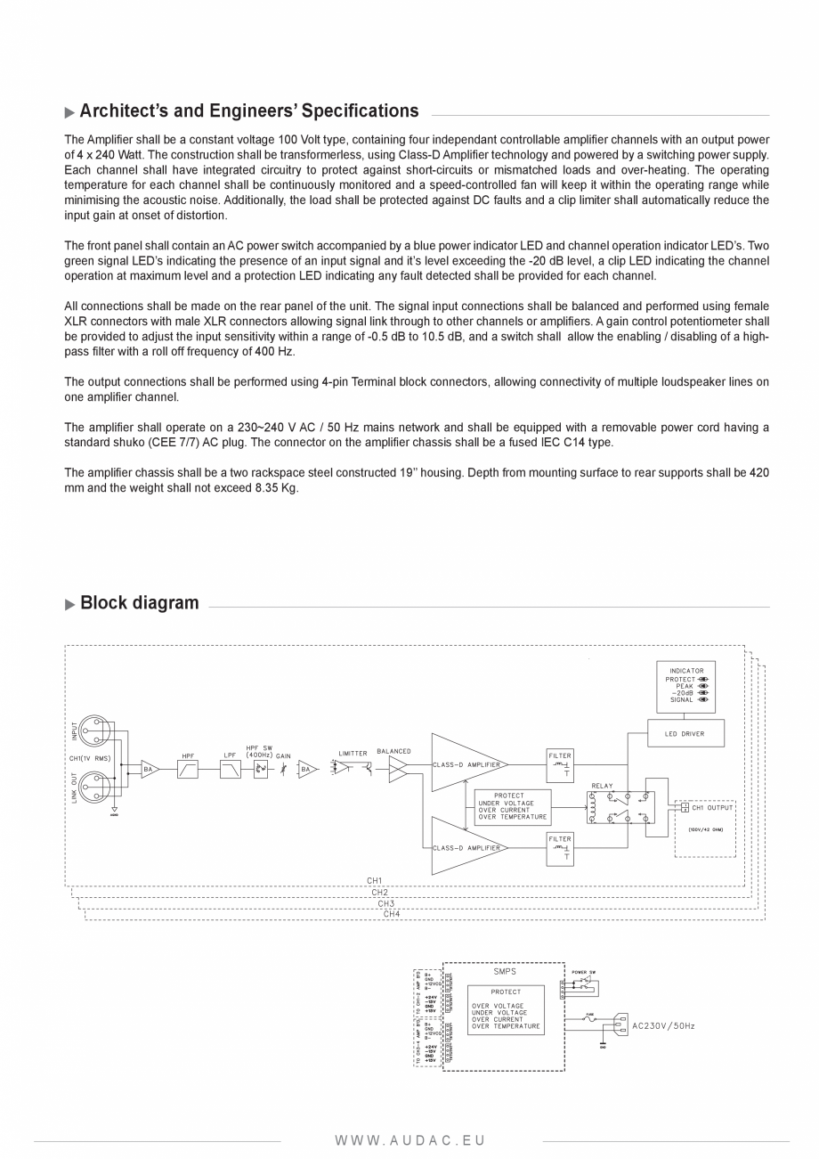Pagina 2 - Amplificator audio 4 canale AUDAC CAP424 Fisa tehnica Engleza bility of the devices is...