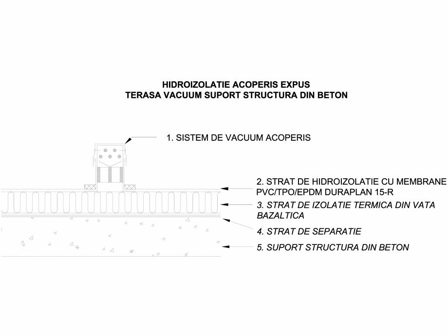 Pagina 1 - CAD-DWG Hidroizolatie acoperis expus terasa vacuum - Suport beton LGF Detaliu de montaj...