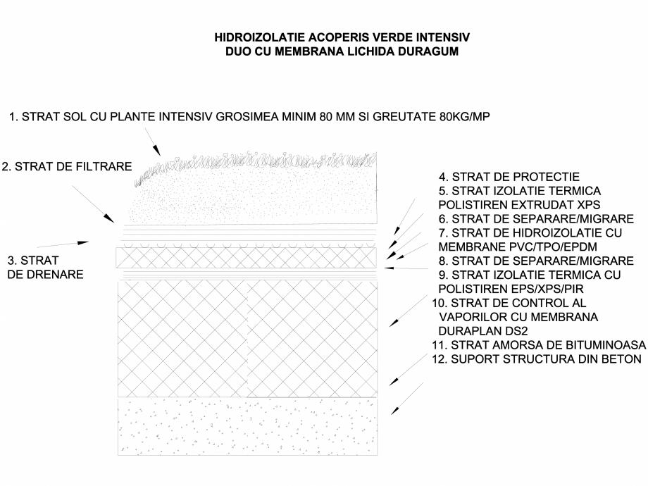 Pagina 1 - CAD-DWG Hidroizolatie acoperis verde intensiv duo cu membrana lichida Duragum LGF Detaliu...