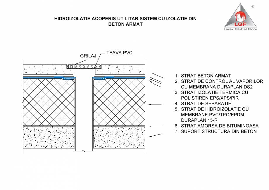 Pagina 1 - CAD-PDF Hidroizolatie acoperis utilitar - Sistem cu izolatie din beton armat LGF Detaliu ...