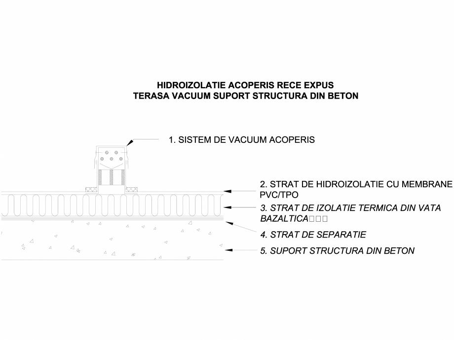 Pagina 1 - CAD-DWG Hidroizolatii acoperis rece expus terasa cu vacuum - Suport beton LGF Detaliu de ...