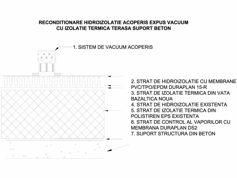Pagina 1 - CAD-DWG Acoperis expus vacuum cu izolatie termica - Suport beton LGF Detaliu de montaj...