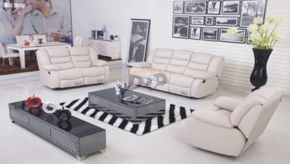 Canapele si fotolii din piele cu recliner - bej deschis ELEONOR Canapele si fotolii din piele