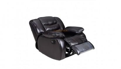 Fotoliu cu recliner - negru ELEONOR Canapele si fotolii din piele cu recliner