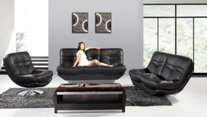 Canapele din piele pe comanda - exemplu amenajare, negru LETITIA Canapele din piele pe comanda