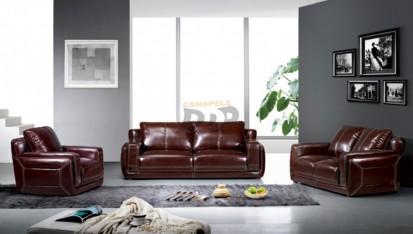 Set canapea piele si fotolii - exemplu amenajare, negru MONICA Set canapea din piele si fotolii