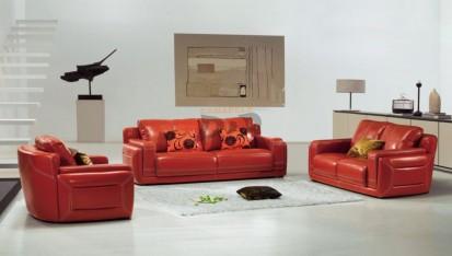 Set canapea piele si fotolii - exemplu amenajare, rosu MONICA Set canapea din piele si fotolii