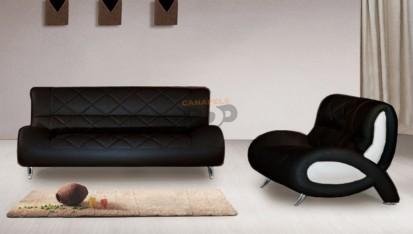 Canapele moderne din piele - negru OPAL Canapele moderne din piele