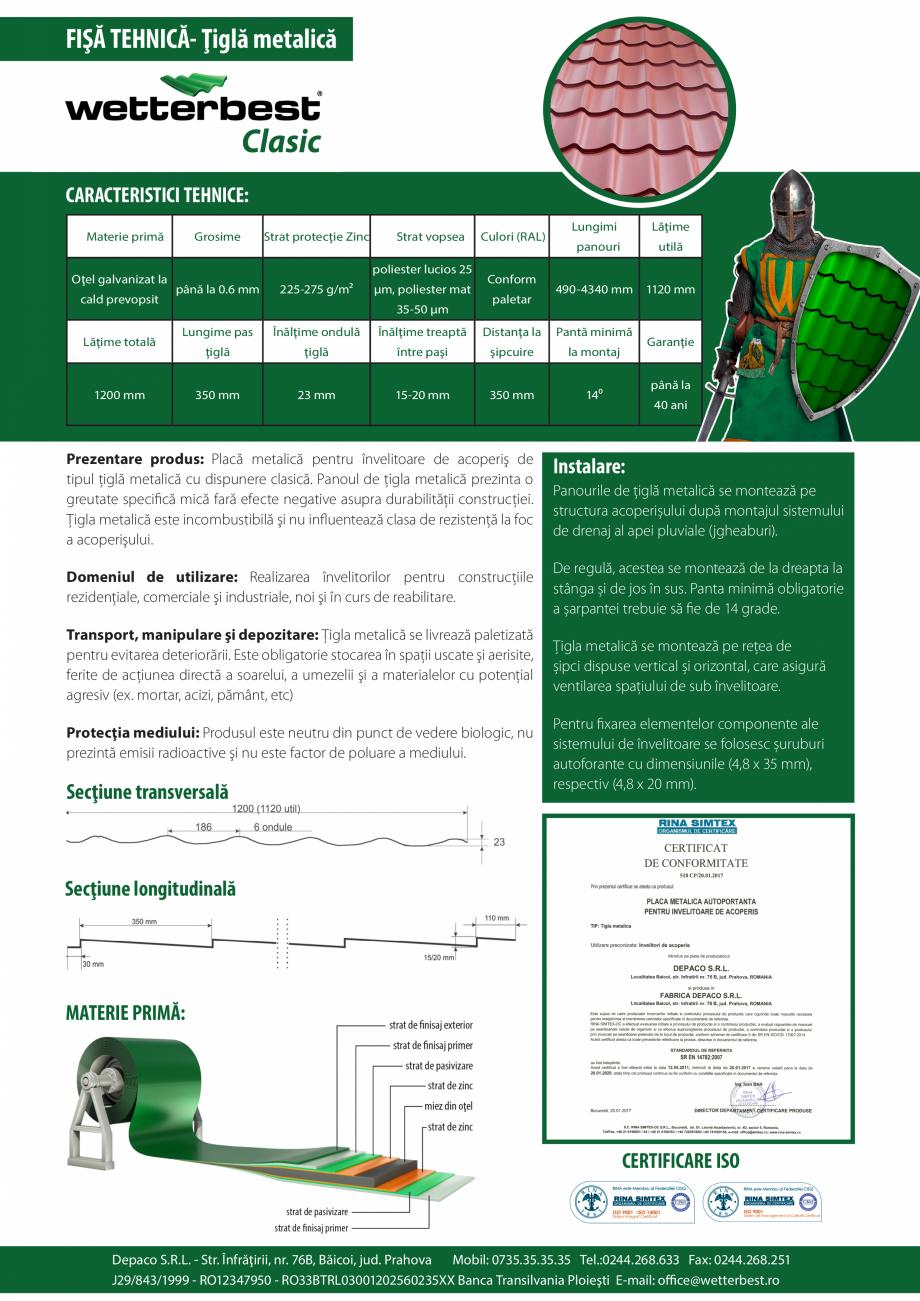 Pagina 1 - Caracteristici tehnice - Tigla metalica  Wetterbest Clasic Fisa tehnica FIŞĂ TEHNICĂ- ...