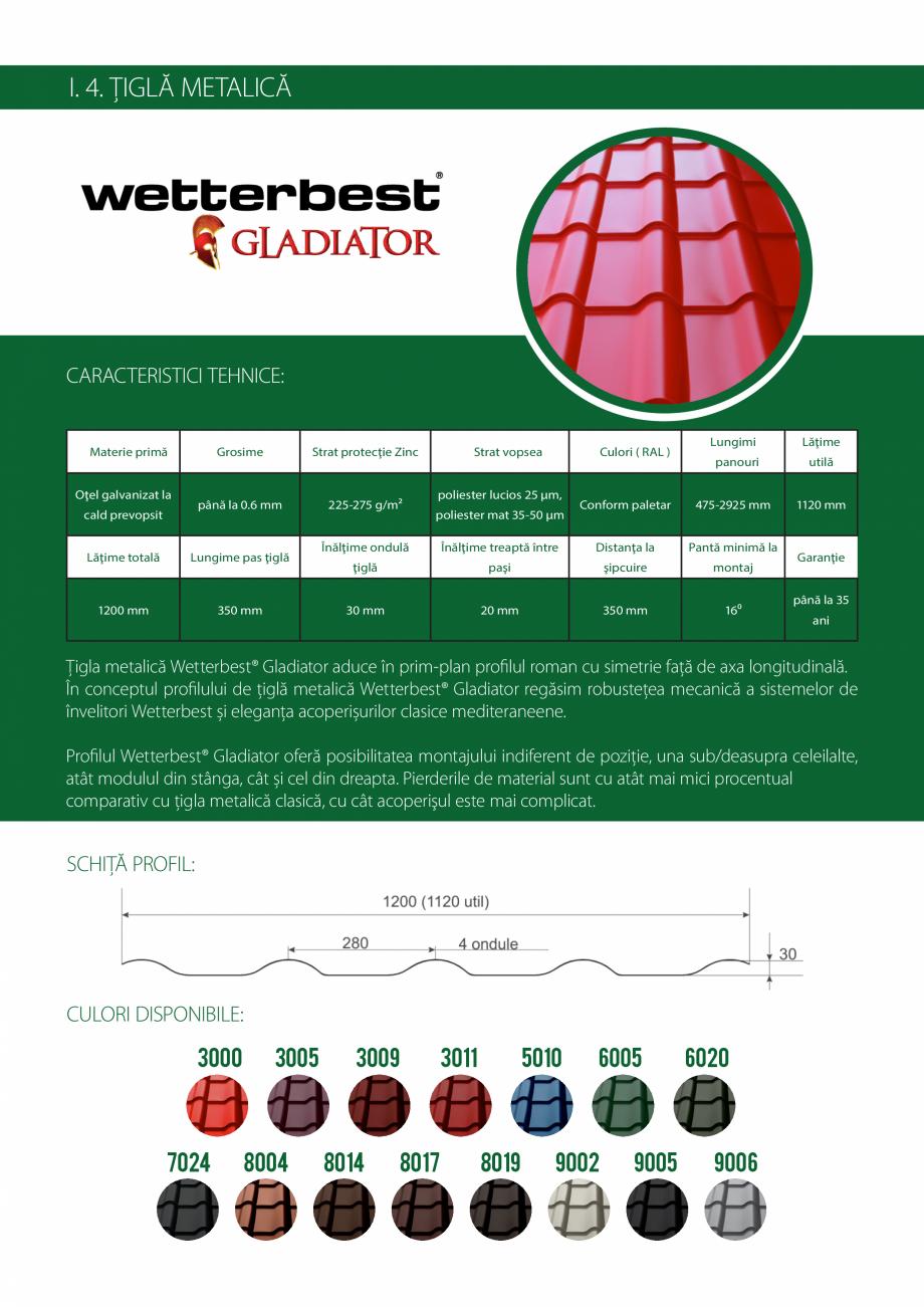 Pagina 7 - Catalog de produse Wetterbest Gladiator, Colloseum, Plus, Clasic, Wind Catalog, brosura...