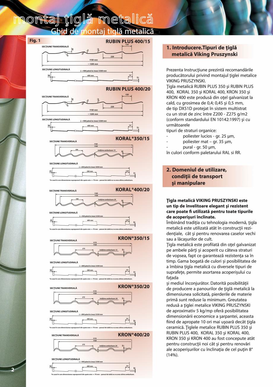 Pagina 2 - Ghid de montaj pentru tigla metalica Viking Pruszynski Kron, Arad Modus, Arad Optima,...