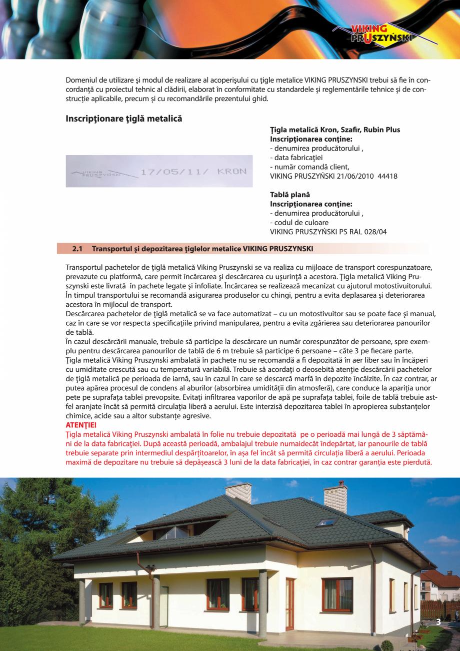 Pagina 3 - Ghid de montaj pentru tigla metalica Viking Pruszynski Kron, Arad Modus, Arad Optima,...