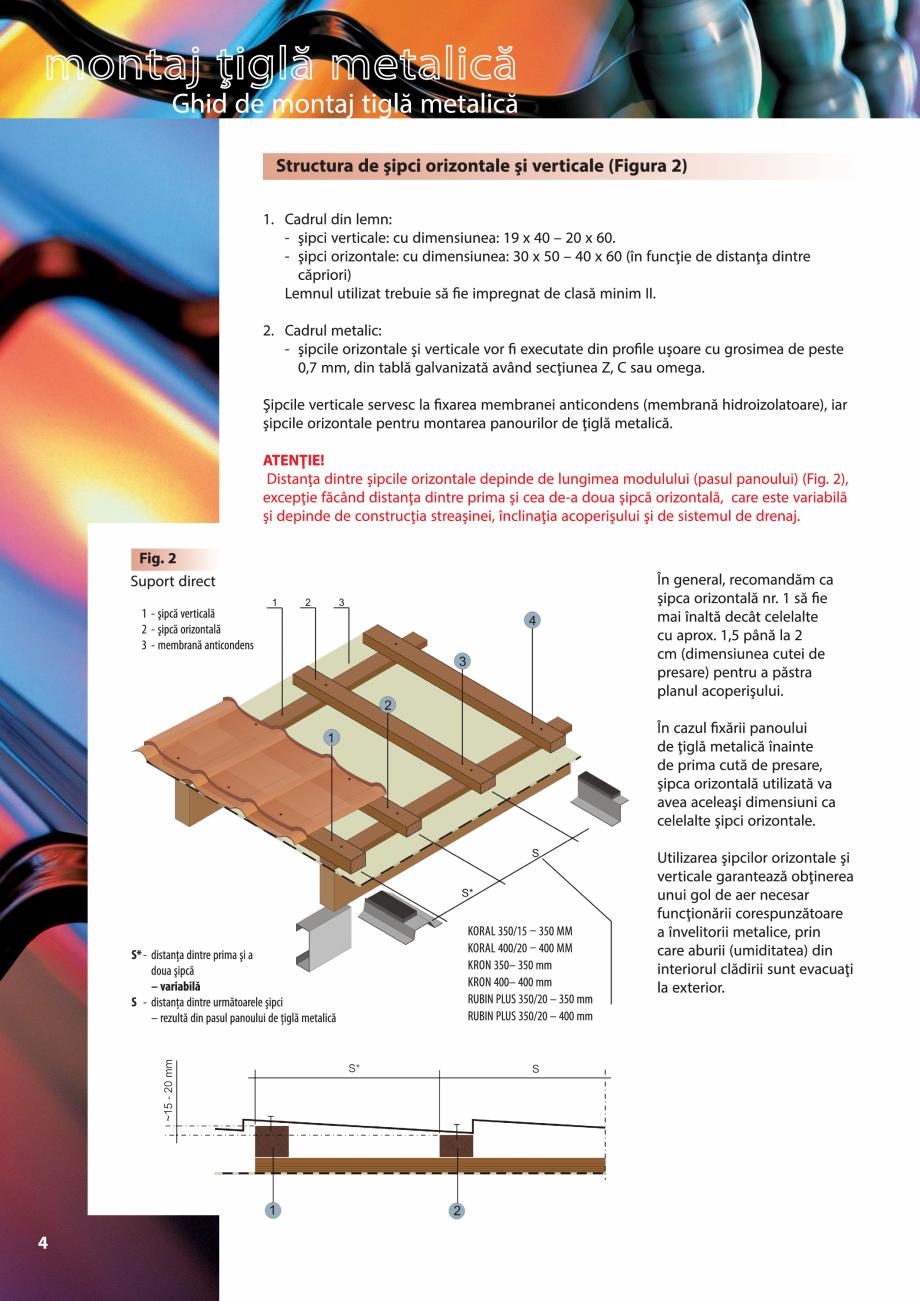 Pagina 4 - Ghid de montaj pentru tigla metalica Viking Pruszynski Kron, Arad Modus, Arad Optima,...