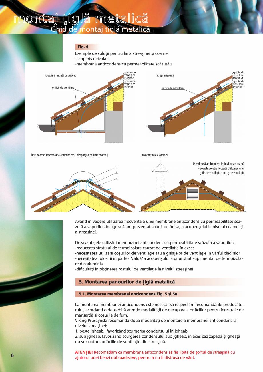 Pagina 6 - Ghid de montaj pentru tigla metalica Viking Pruszynski Kron, Arad Modus, Arad Optima,...