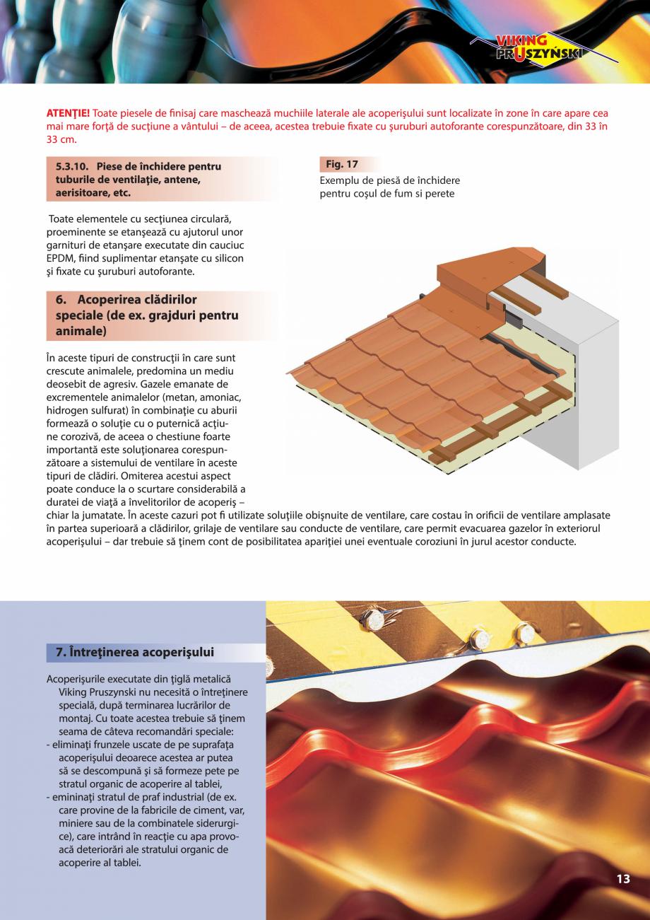 Pagina 13 - Ghid de montaj pentru tigla metalica Viking Pruszynski Kron, Arad Modus, Arad Optima,...