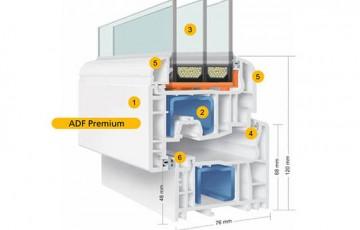 Ferestre din PVC Gama de ferestre din PVC - ADF au o rezistenta statica sporita. Designul sau modern este conferit de formele minimaliste ale profilului PVC.