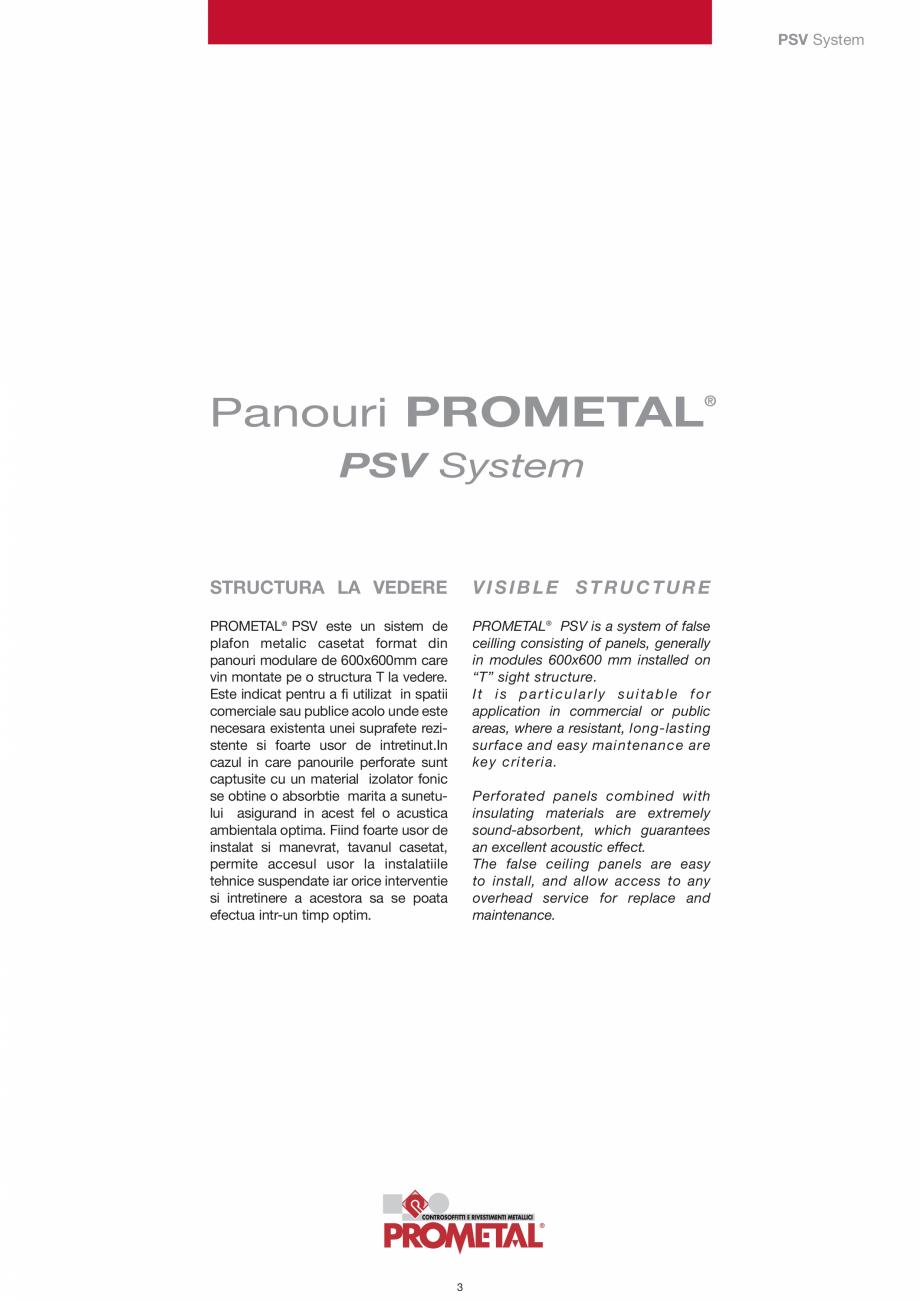Pagina 3 - Panouri cu structura la vedere PROMETAL Catalog, brosura Romana nteaza doar prin greutate...
