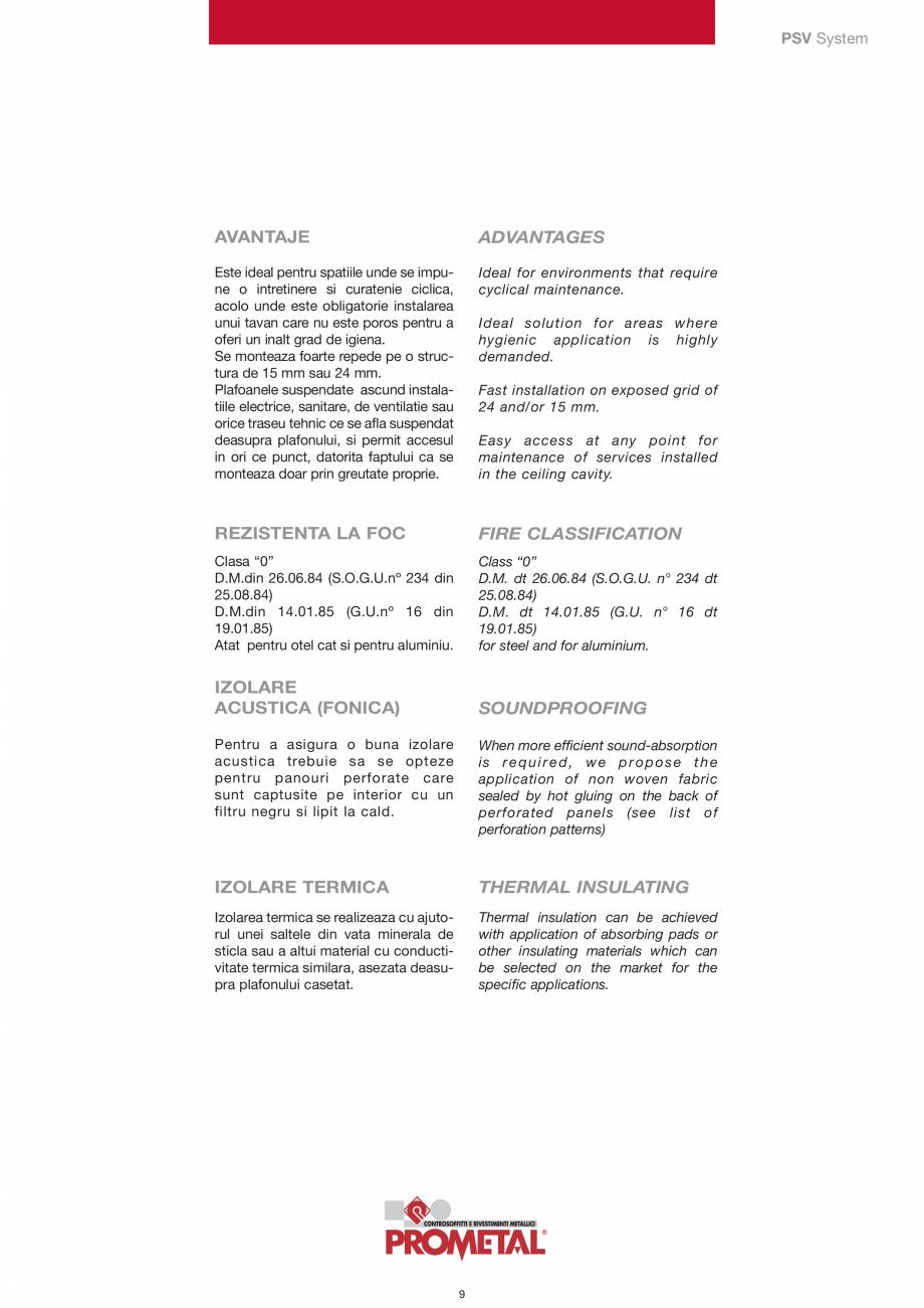 Pagina 9 - Panouri cu structura la vedere PROMETAL Catalog, brosura Romana thickness 60 micron),...