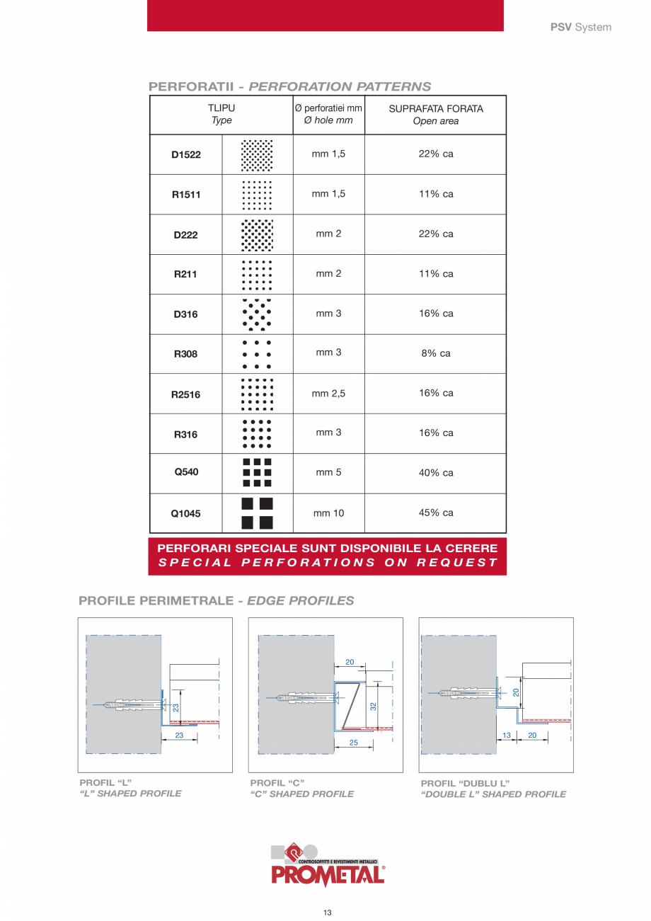 Pagina 13 - Panouri cu structura la vedere PROMETAL Catalog, brosura Romana ® lipit la cald pe...
