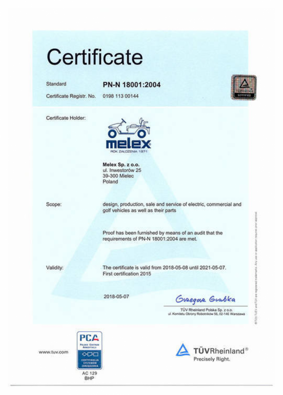 Pagina 1 - Certificat PN - N 18001:2004 pentru autoutilitare electrice ecologice MELEX 391.1 ...