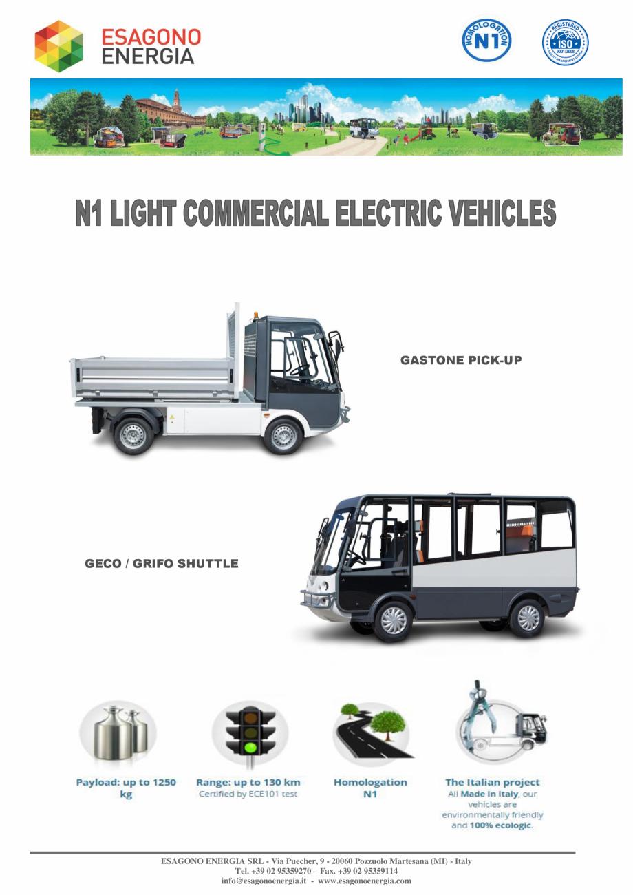Pagina 1 - Caracteristici tehnice pentru modelele N1 - Autoutilitare electrice ecologice ESAGONO...