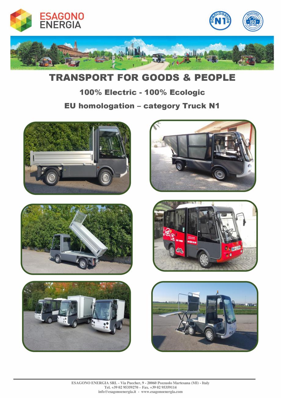 Pagina 2 - Caracteristici tehnice pentru modelele N1 - Autoutilitare electrice ecologice ESAGONO...