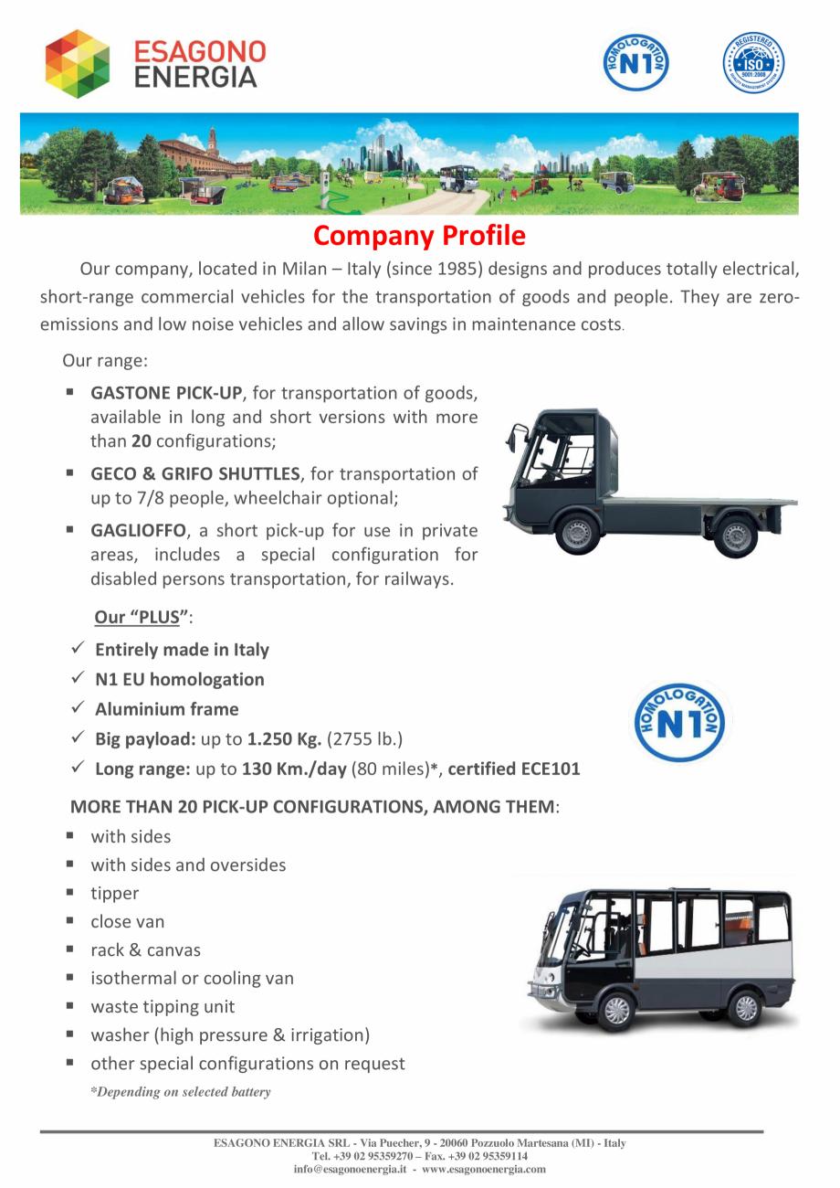 Pagina 4 - Caracteristici tehnice pentru modelele N1 - Autoutilitare electrice ecologice ESAGONO...