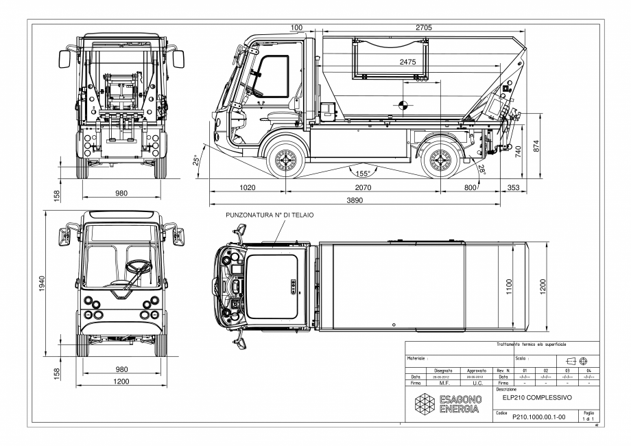 Pagina 1 - Dimensiunile modelelor - Autoutilitare electrice ecologice ESAGONO ENERGIA PICK-UP...