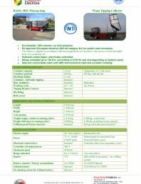 Caracteristici tehnice pentru autobasculanta electrica pentru colectare deseuri