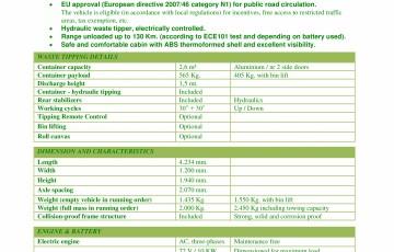 Caracteristici tehnice - autobasculanta electrica pentru colectare deseuri ESAGONO ENERGIA