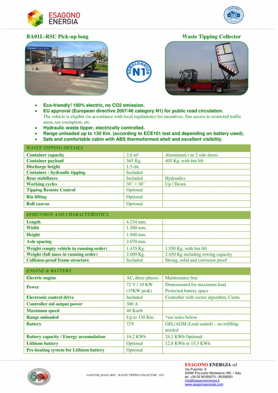 Pagina 1 - Caracteristici tehnice pentru autobasculanta electrica pentru colectare deseuri ESAGONO...