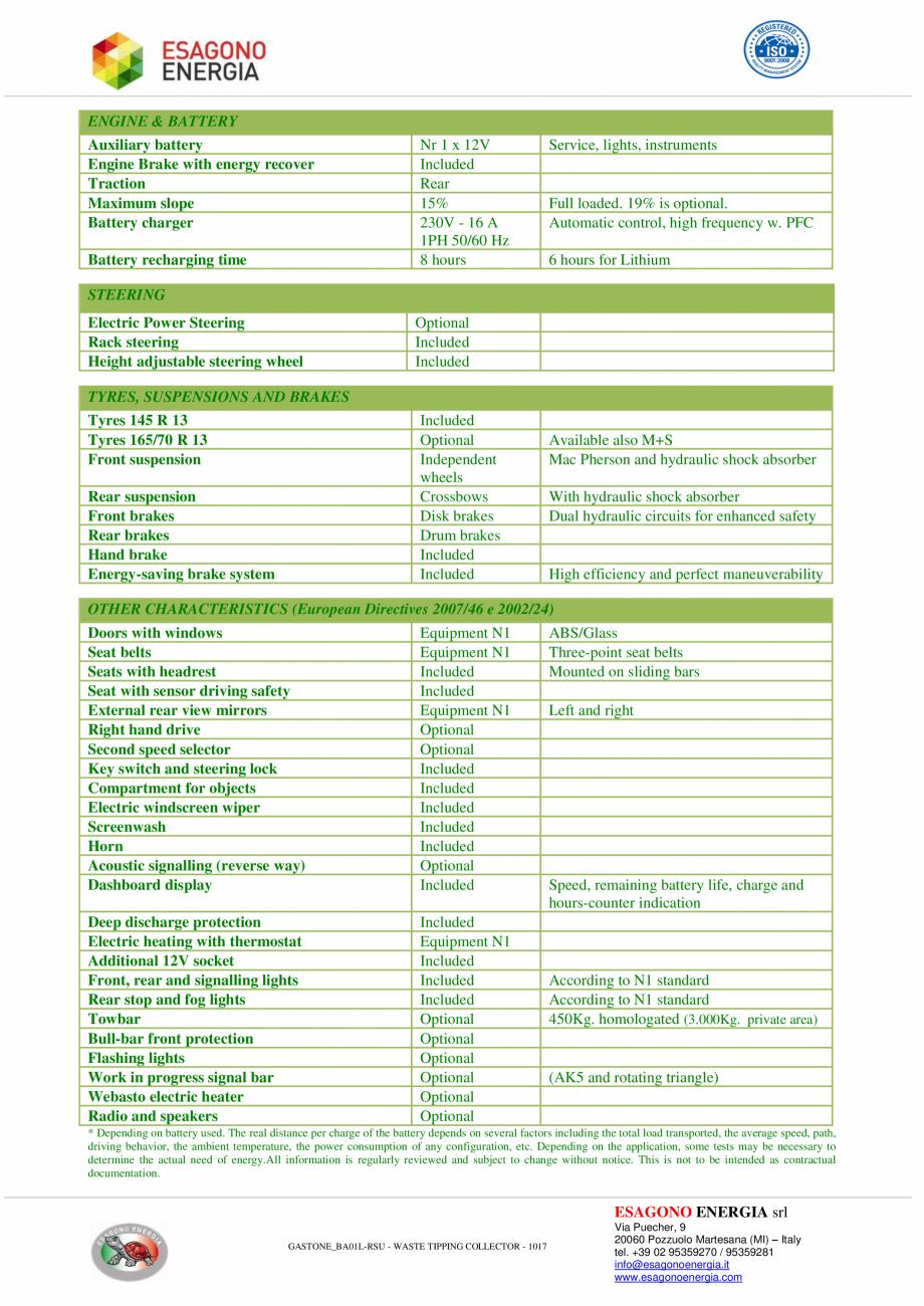 Pagina 2 - Caracteristici tehnice pentru autobasculanta electrica pentru colectare deseuri ESAGONO...