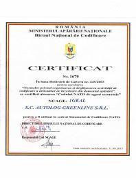 Certificat NATO NCAGE