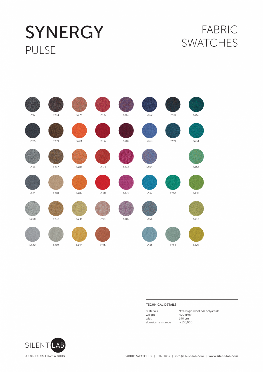 Pagina 1 - Paletar de culoare pentru materialul textil SYNERGY SilentLab MICROOFFICE PRIME,...