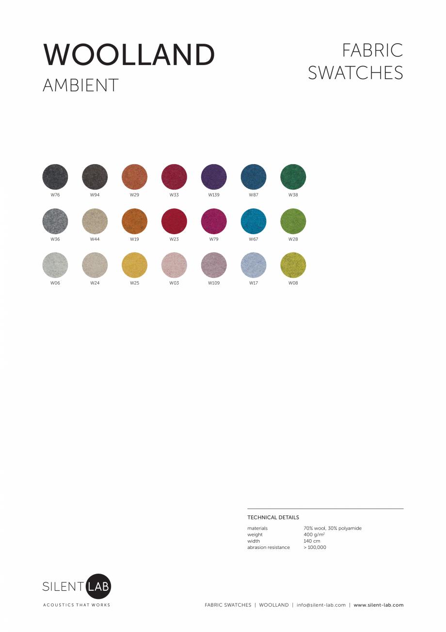 Pagina 1 - Paletar de culoare pentru materialul textil WOOLLAND SilentLab MICROOFFICE PRIME,...