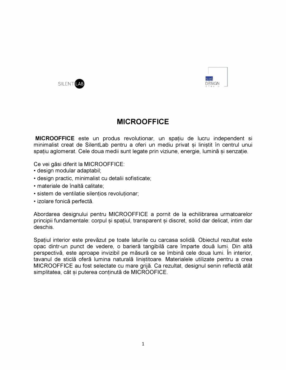 Pagina 1 - MICROOFFICE- prezentare SilentLab MICROOFFICE PRIME, MICROOFFICE UNIQ, MICROOFFICE CUBIQ,...