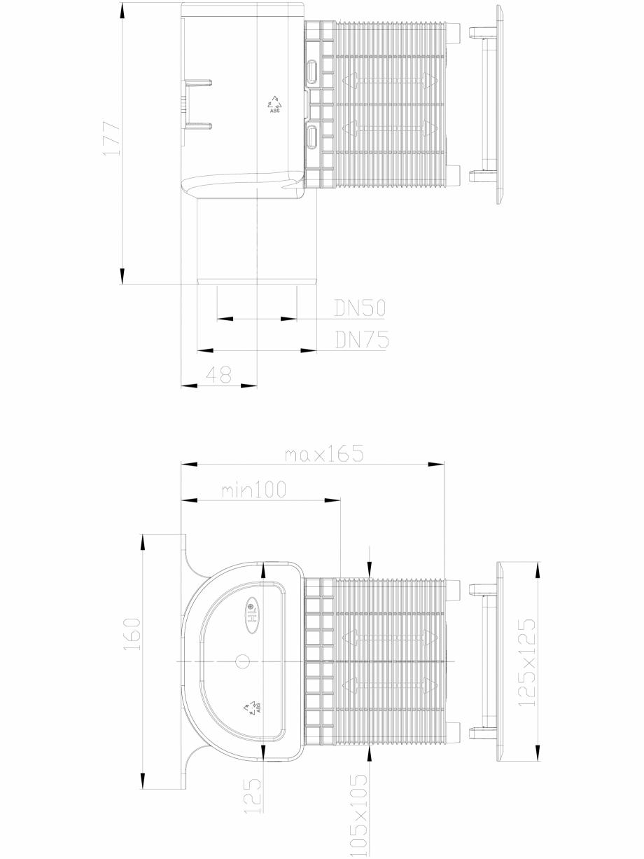 Pagina 1 - CAD-DXF Piesa de ventilatie inzidita pentru aerisirea coloanelor de canalizare HL...
