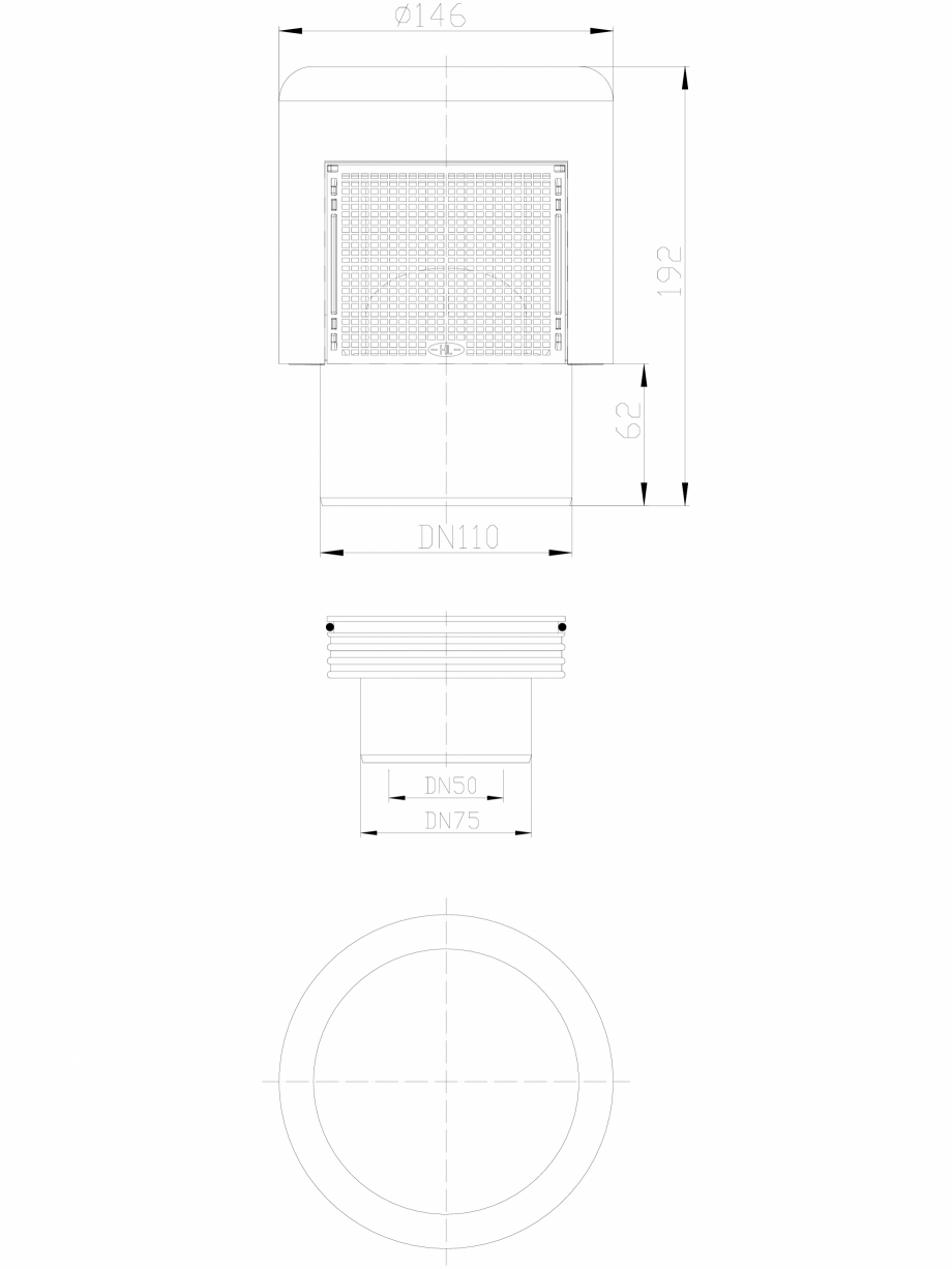 Pagina 1 - CAD-DXF Aerator cu membrana pentru ventilarea sistemelor de canalizari interioare HL...