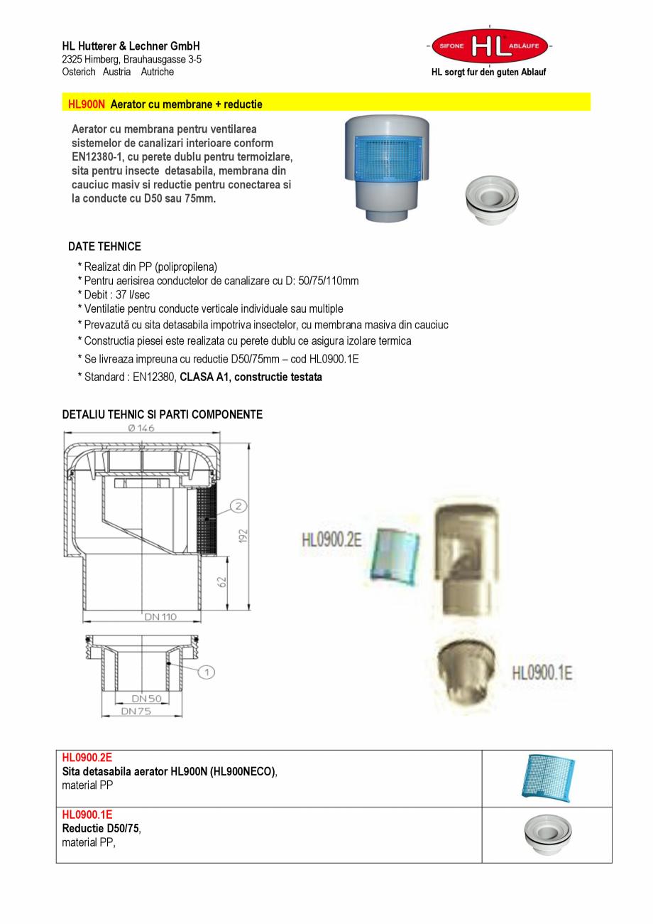 Pagina 1 - Aerator cu membrana pentru ventilarea sistemelor de canalizari interioare HL Hutterer...