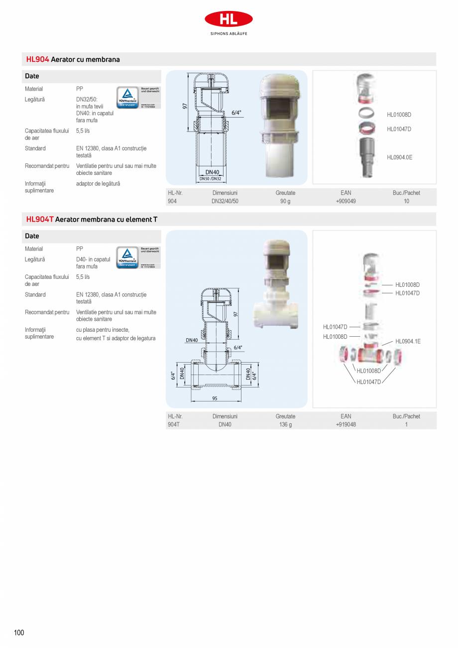 Pagina 6 - Aeratoare cu membrana HL Hutterer & Lechner HL905, HL900NECO, HL900N, HL904 Catalog, ...