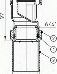 Aerator cu membrana pentru ventilarea unui sau mai multor obiecte sanitare - Desen tehnic