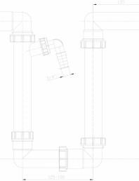 Sifon pentru condens, racord intrare orizontal D40 si evacuare orizontal D40 mm