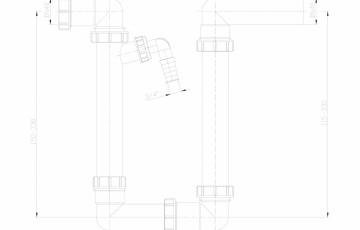 Sifon pentru condens, racord intrare orizontal D40 si evacuare orizontal D40 mm HL Hutterer & Lechner