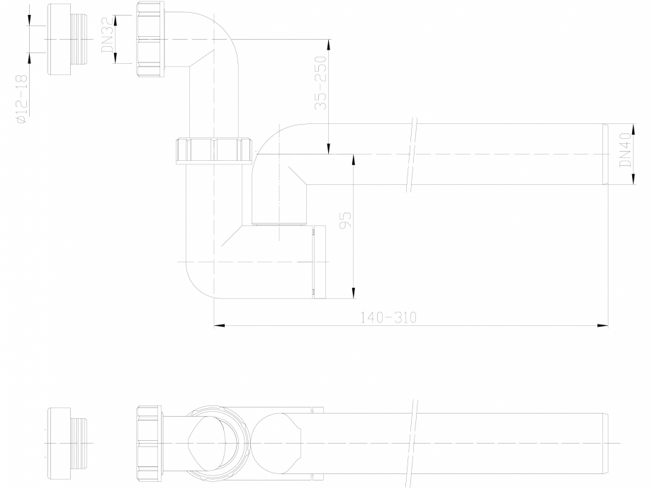 Pagina 1 - CAD-DXF Sifon pentru condens cu racord intrare pozitionat orizontal sau vertical HL...