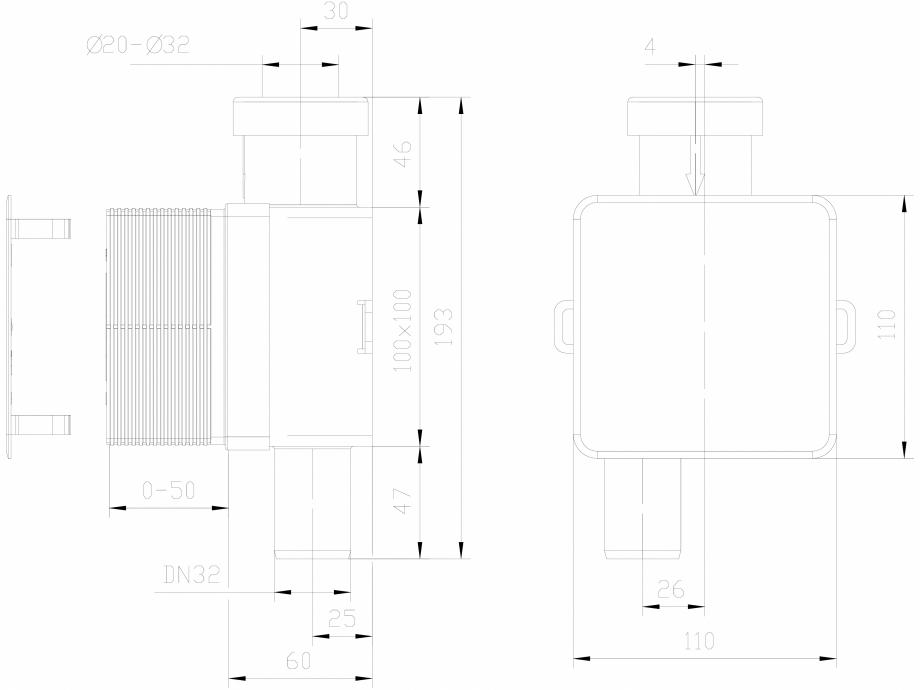Pagina 1 - CAD-DXF Sifon pentru condens cu montaj ingropat HL Hutterer & Lechner Detaliu de...