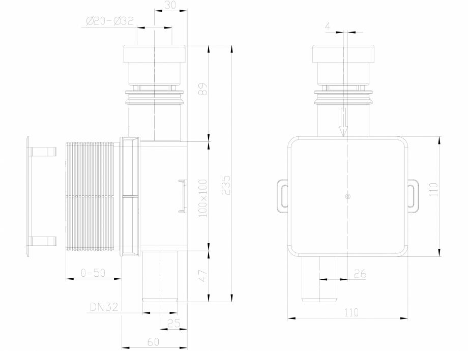 Pagina 1 - CAD-DXF Sifon pentru condens cu montaj ingropat cu cartus transparent si extractabil...