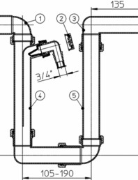 Sifon pentru condens, racord intrare orizontal D40 si evacuare orizontal D40 mm - desen tehnic